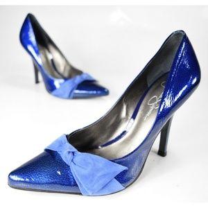 Jessica Simpson Shiny Blue Bow Pumps 💖 Size 7.5